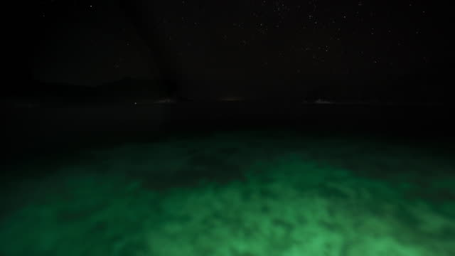 time-lapse night time tracking shot over tropical reef