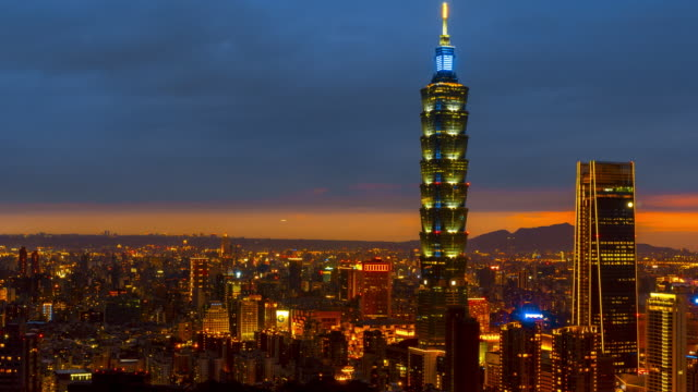 time-lapse night to day taipei cityscape taipei 101 building of taipei financial city ,taiwan - taipei 101 stock videos & royalty-free footage
