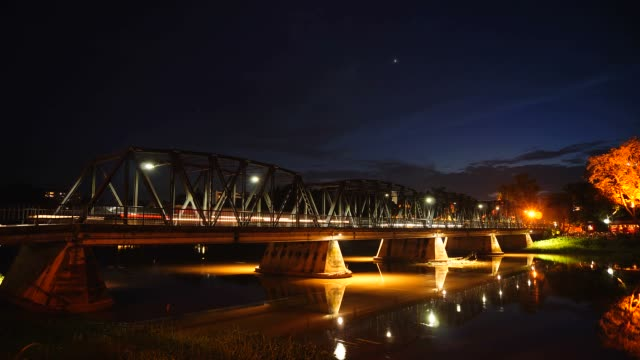 time-lapse: night traffic on steel bridge from twilight until night - hd 25 fps stock videos & royalty-free footage
