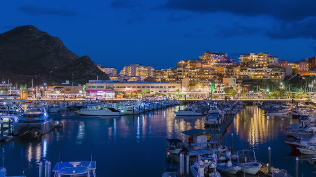 4k time-lapse: night view of marina in cabo san lucas - cabo san lucas stock videos & royalty-free footage