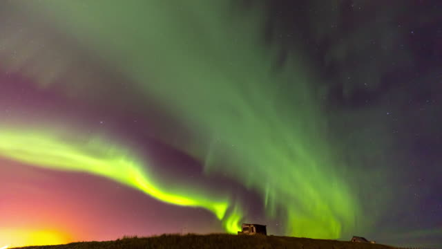 time-lapse: northern light aurora borealis at keflavik, iceland - reykjavik stock videos and b-roll footage
