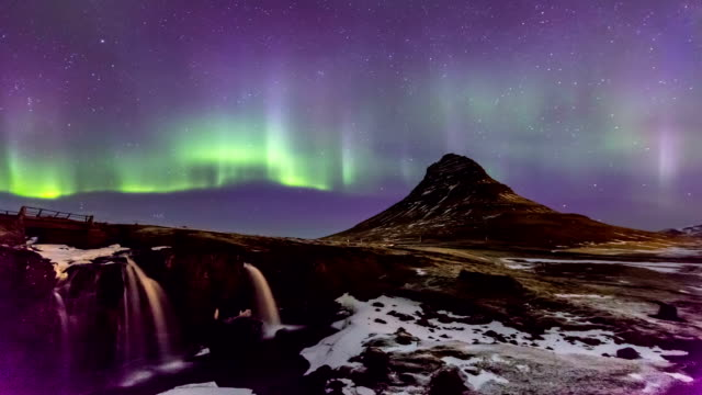 HD Time-lapse: Northern Light Aurora Borealis at Kirkjufell Iceland KP-8