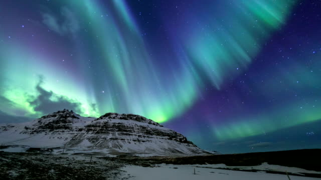 HD Time-lapse: Northern Light Aurora Borealis at Kirkjufell Iceland