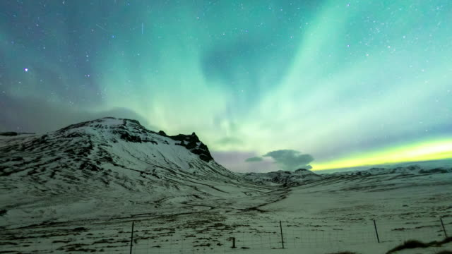 4K Time-lapse: Northern Light Aurora Borealis at VIK Southern Iceland