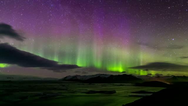 Time-lapse: Northern Light Aurora Borealis Vatnajokull Glacier Jokulsarlon lagoon Iceland