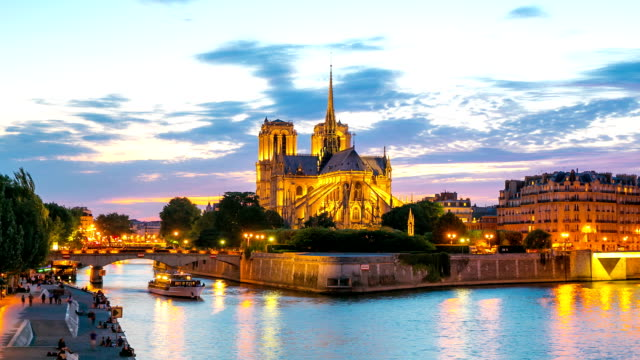 HD Timelapse: Notre Dame Cathedral at dusk in Paris, France