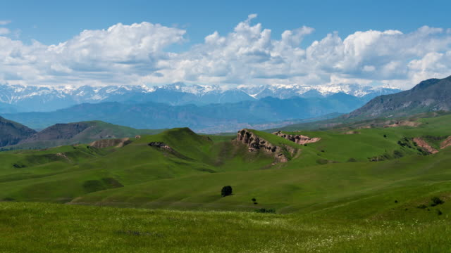 vídeos de stock, filmes e b-roll de timelapse of a beautiful green valley and mountains range in the background in kyrgyzstan - pasture