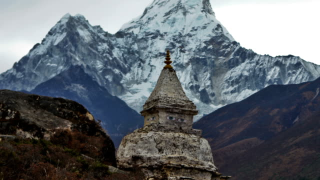 Time-lapse of a buddhist stupa with Ama Dablam peak in the background. Cropped.