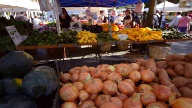 vidéos et rushes de time-lapse of a bustling fruit and vegetable market in new york - marché paysan