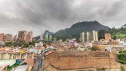 Timelapse of a Colombian town on a cloudy day