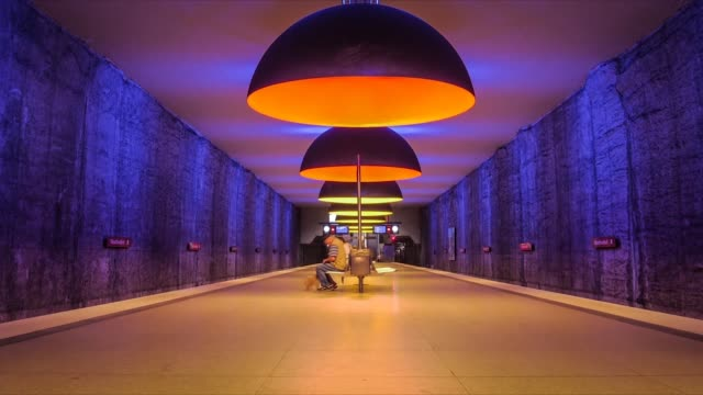 timelapse of a colorful subway station in munich - railway station platform stock videos and b-roll footage