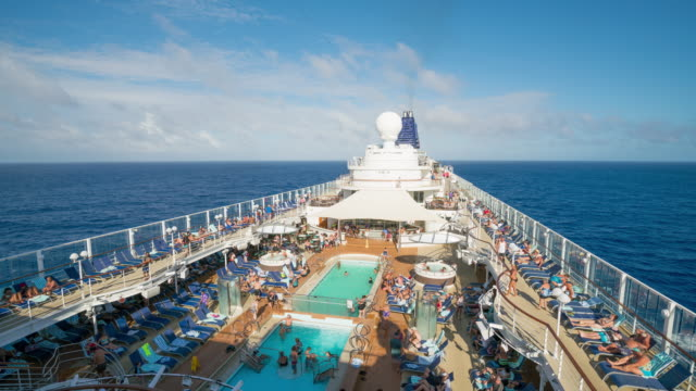 hawaii - timelapse of a cruise ship cruising - deck stock videos & royalty-free footage