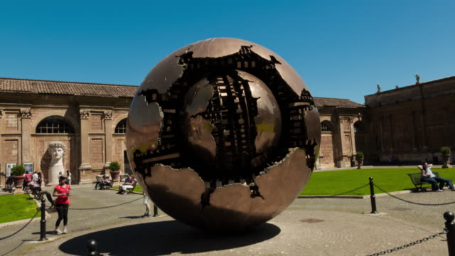 Time-lapse of a metal sphere sculpture in the Vatican.