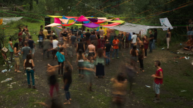 timelapse of a psytrance rave in the himalayas - 1970 1979 stock videos & royalty-free footage