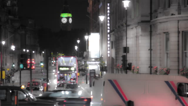 Time-lapse of a road leading to Big Ben in London.