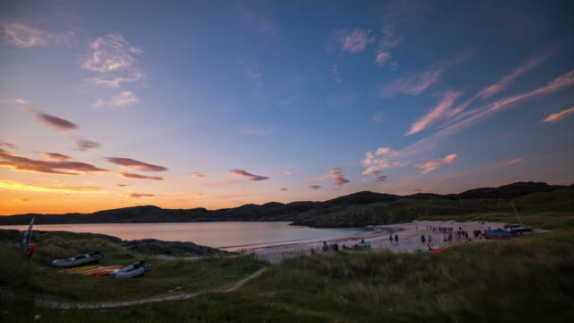 Timelapse of a Scottish beach during sunset