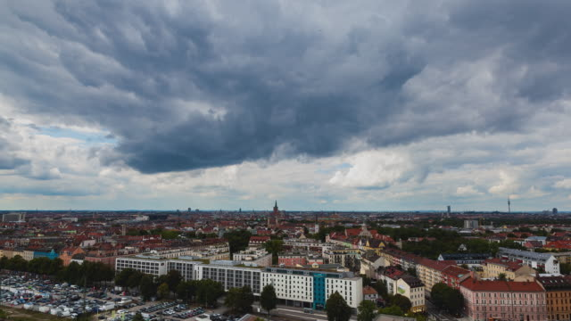 Timelapse of a storm cloud overlooking Munich, Bavaria, Germany