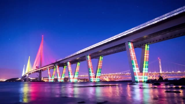 timelapse of a tartan animation projection mapped against the new queensferry crossing which goes across the firth of forth between lothian at south... - tartan video stock e b–roll