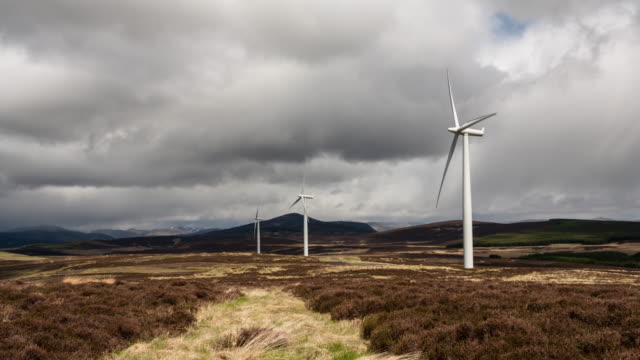 Time-lapse of a wind farm in Scotland showing wind turbines both turning and re-orientating into the wind direction from day to night with dynamic cloud movement