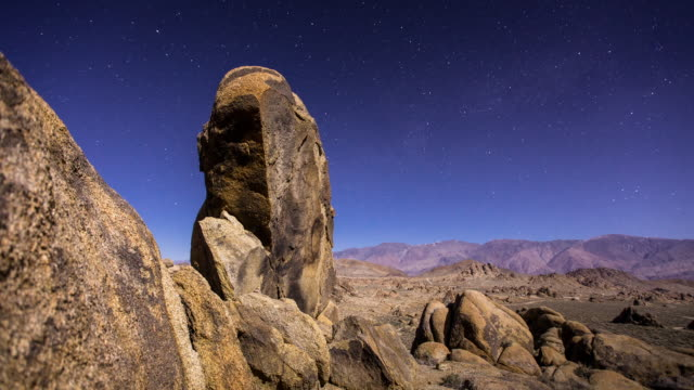 timelapse of alabama hills rock formations by moonlight - rock formation stock videos & royalty-free footage