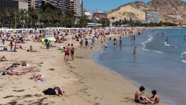 Time-lapse of Alicante beach in summer