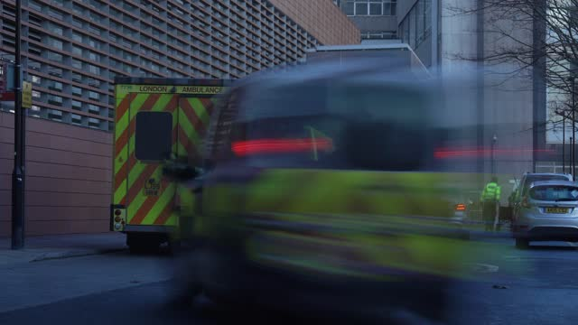 time-lapse of ambulances outside the emergency department of the royal london hospital in london, england, on january 25, 2021. across the uk, deaths... - time lapse stock videos & royalty-free footage