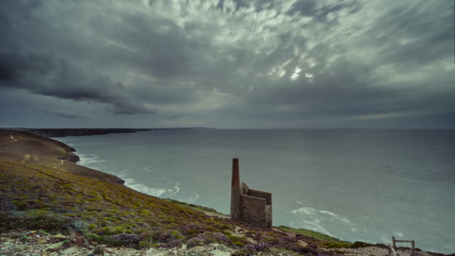 time-lapse of an abandoned tin mine at wheal coates, cornwall, uk at sunset - tin mine stock videos & royalty-free footage