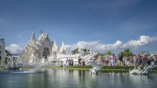 timelapse of an amazing wat rong khun (white temple), chiang rai, northern thailand, thailand, southeast asia, asia - animal representation stock videos & royalty-free footage