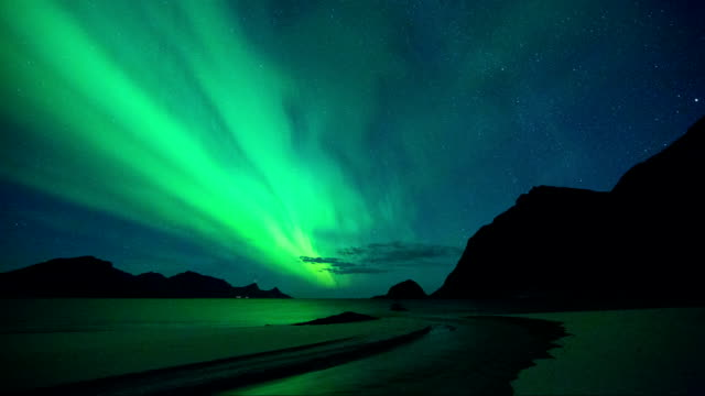Timelapse of Aurora in Haukland Beach of Lofoten, Norway