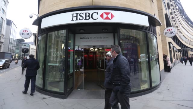 Timelapse of bank branch operated by HSBC Holdings Plc in London UK on Monday Feb 9 2015