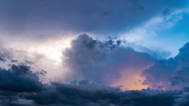 4k timelapse of beautiful colorful cloud sunset to dark sky - twilight stock videos & royalty-free footage