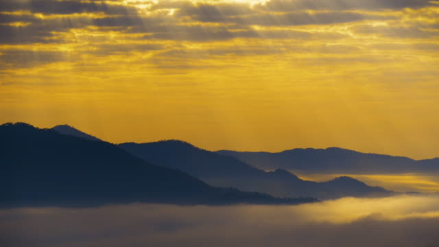 4k timelapse of beautiful sunrise over phu thok mountain, chiang khan, loei, thailand - afterlife stock videos and b-roll footage