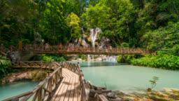 Timelapse of beautiful Tat Kuang Si Waterfalls at Luang Prabang in Laos