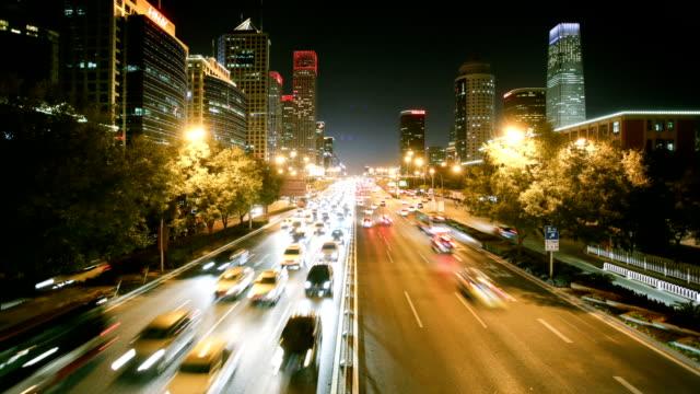 vidéos et rushes de timelapse of beijing city night - traffic time lapse