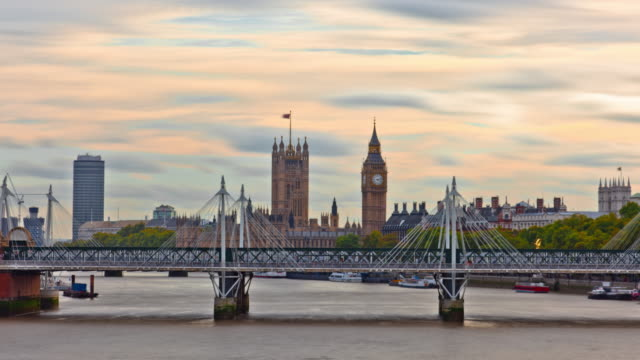 time-lapse of big ben and the hungerford bridge in london. - hungerford bridge stock videos & royalty-free footage
