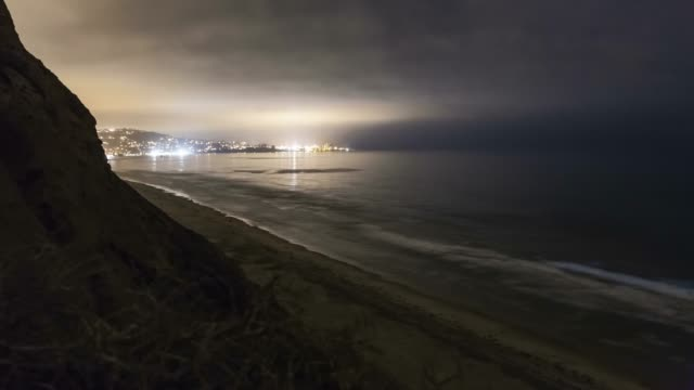 timelapse of bioluminescent tide / red tide glowing blue in san diego county, california - red tide stock videos & royalty-free footage