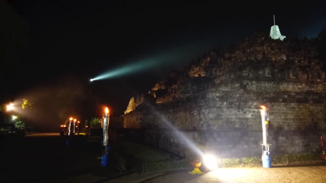 timelapse of borobudur temple during celebrations for vesak day on may 19 2019 in magelang central java indonesia - buddha's birthday stock videos and b-roll footage