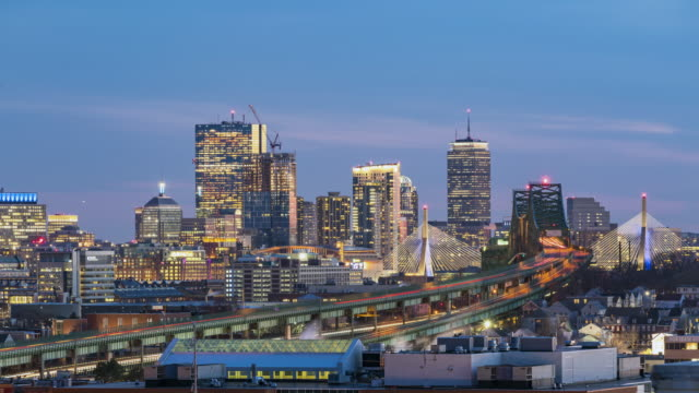 4K UHD : Time-lapse of Boston Night to Day with traffic light long exposure.