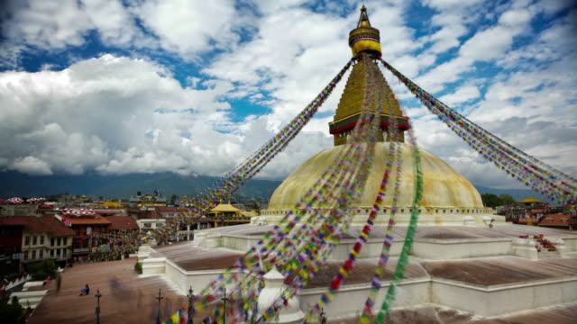 time-lapse of boudhanath stupa in boudha, nepal. - stupa stock videos & royalty-free footage