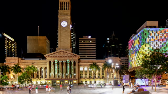 Timelapse of Brisbane (at City Council) at night with citywide interactive light and projection installations in 4K