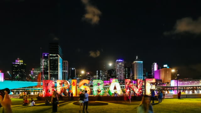 Timelapse of Brisbane CBD (from South Bank) during G20 Cultural events, at night, with citywide interactive light and projection installations.