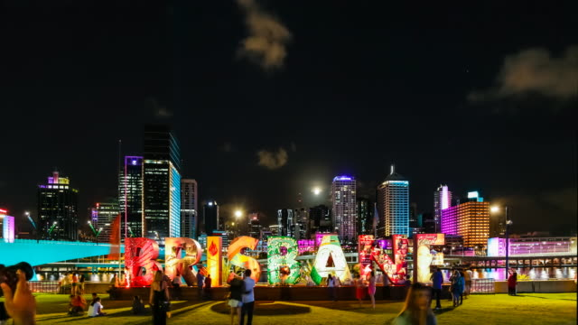 timelapse of brisbane skyline (from south bank), at night, with citywide interactive light and projection installations in 4k - queensland stock videos & royalty-free footage