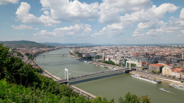 timelapse of budapest city during a sunny day - river danube video stock e b–roll