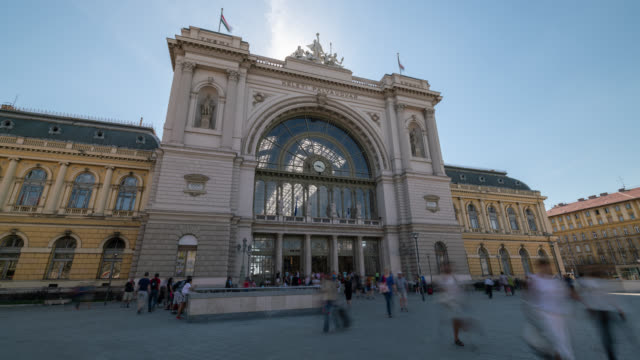 timelapse of budapest train station - hungary stock videos & royalty-free footage