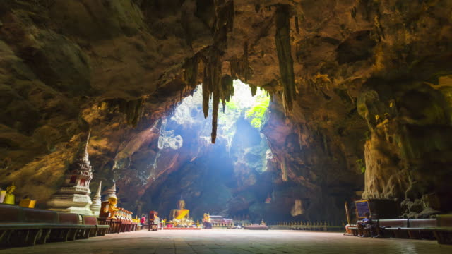 Timelapse of Buddha images in Khao Luang cave, Thailand