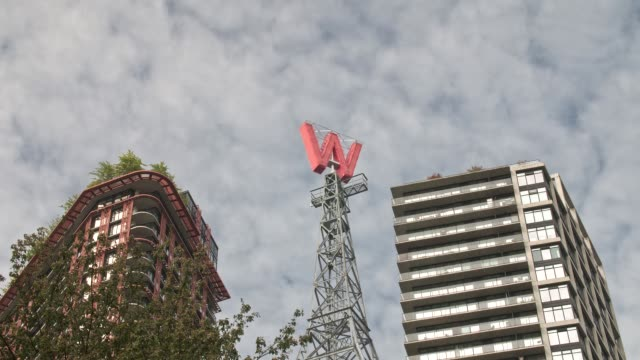 Timelapse of buildings and moving clouds in Gastown, Vancouver, British Columbia, Canada, North America