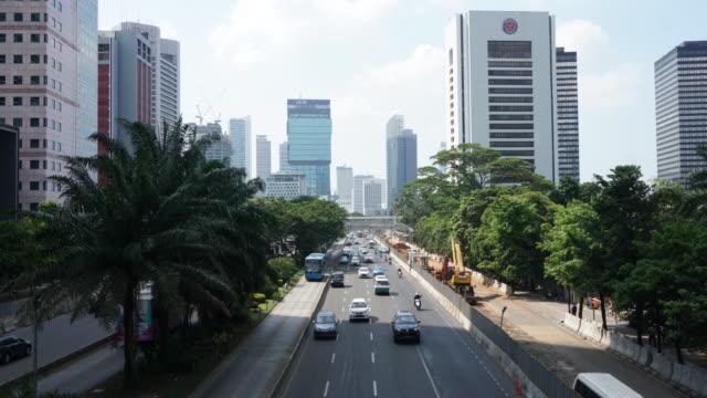 Timelapse of Business District of Sudirman Street in Jakarta