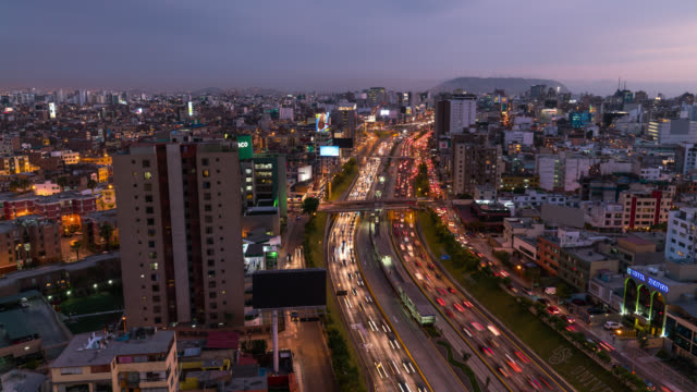 Timelapse of busy road after sunset in Lima