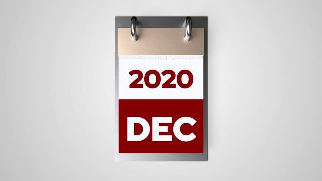 timelapse del calendario 2020 anno - countdown video stock e b–roll