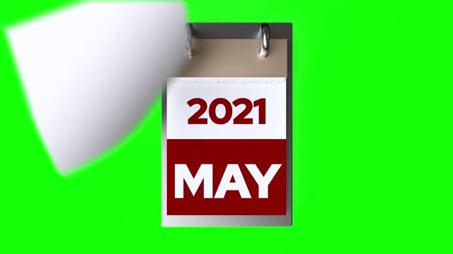 timelapse of calendar 2021 year on green background - week stock videos & royalty-free footage